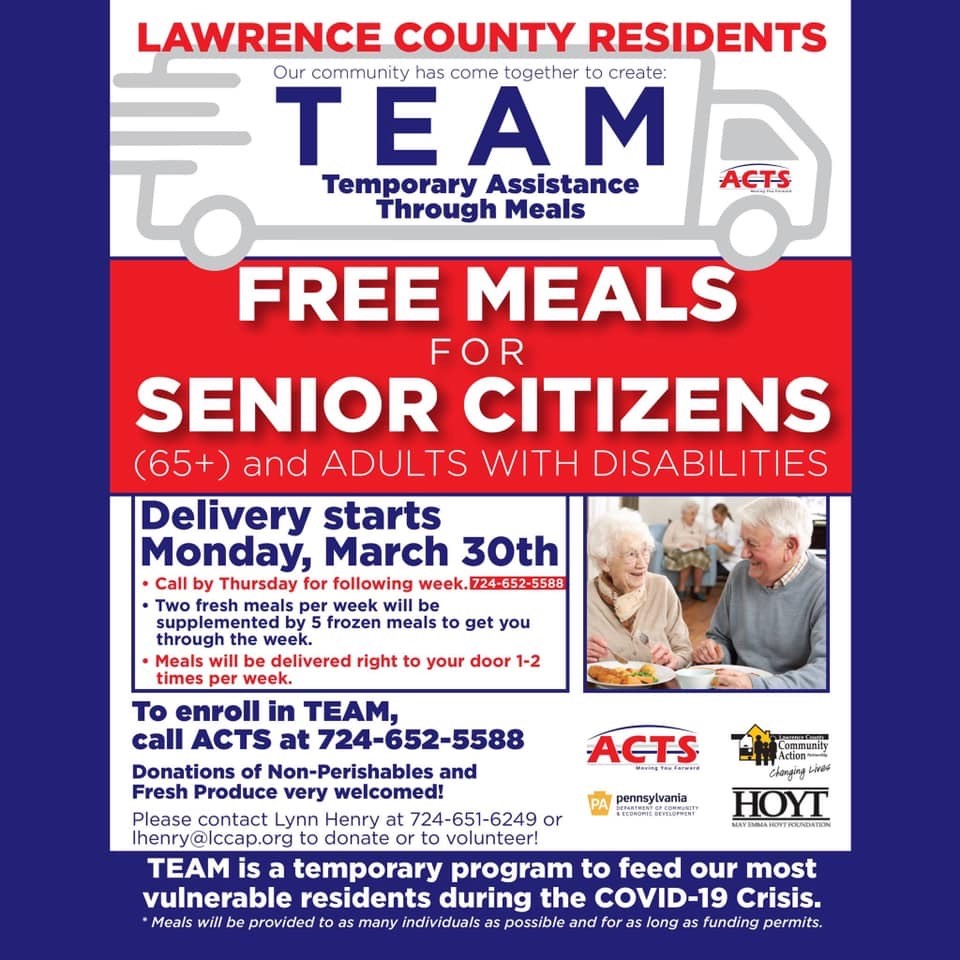 FREE Meals for Senior Citizens (65+) and Adults with Disabilities